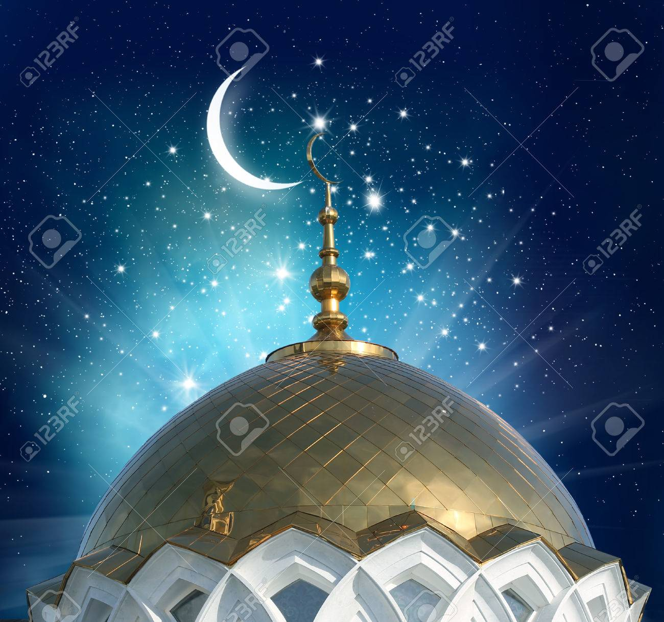 Mosque background for ramadan kareem stock photography image - Ramadan Kareem Background Crescent Moon At A Top Of A Mosque Stock Photo 58782923