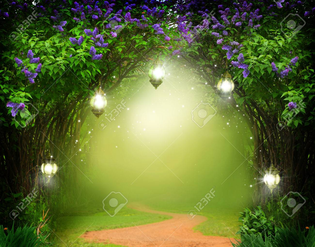 fantasy background . magic forest with road.beautiful spring.. stock