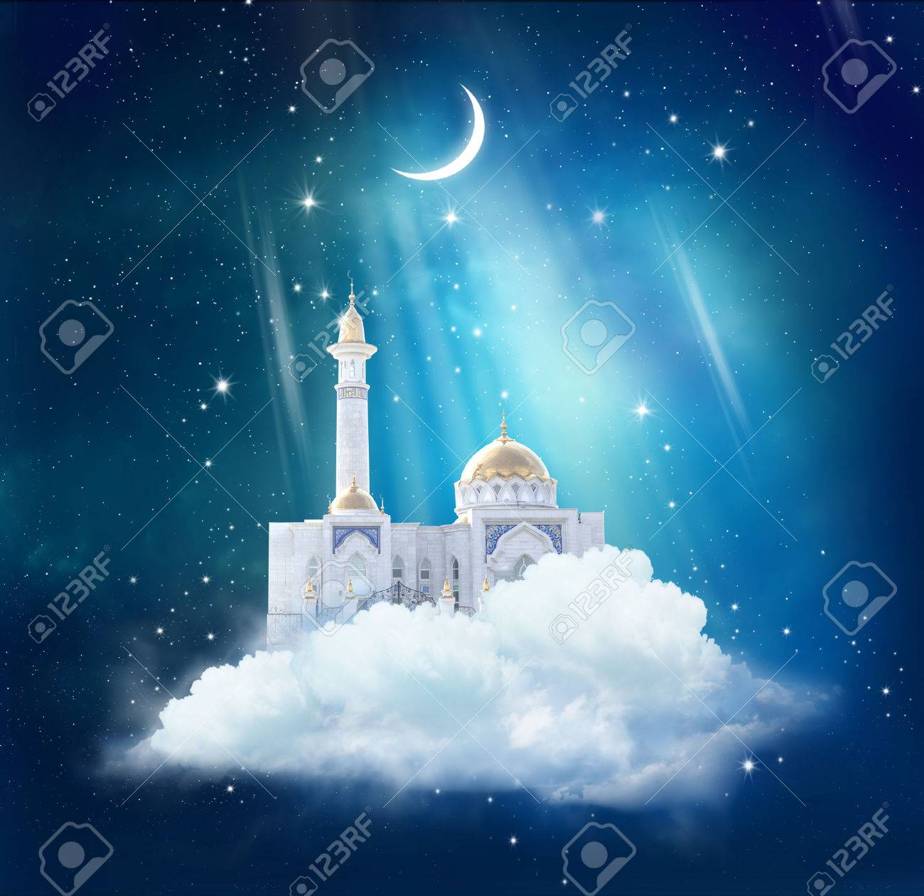 Mosque background for ramadan kareem stock photography image - Ramadan Kareem Background With Mosque In Sky Stock Photo 76411539