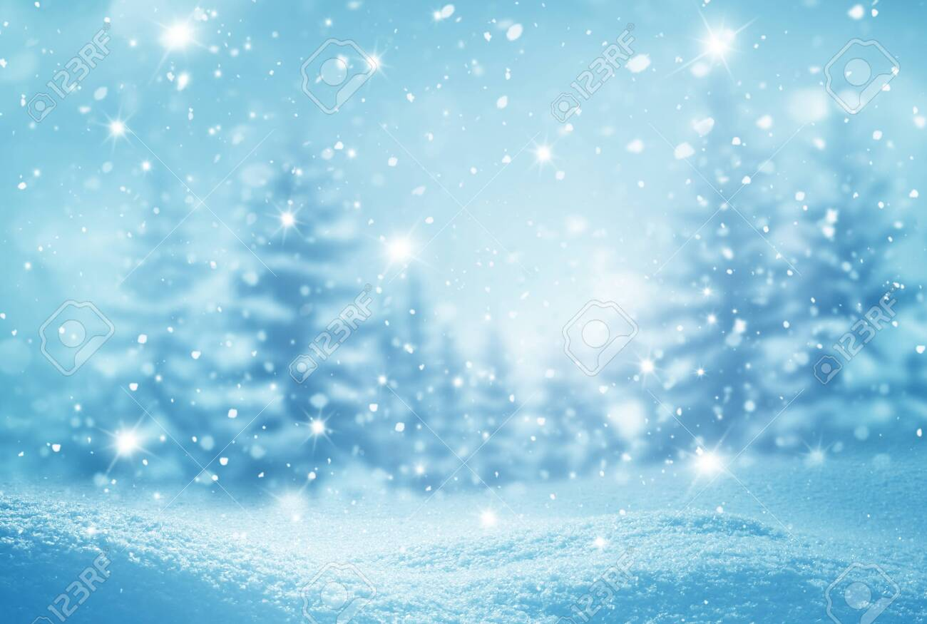 Winter background .Merry Christmas and happy New Year greeting card with copy-space. Christmas landscape with snow and fir trees - 130015329