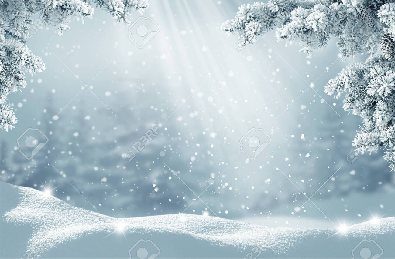 Merry Christmas and happy new year greeting card. Winter landscape with snow .Christmas background with fir tree branch - 130015355