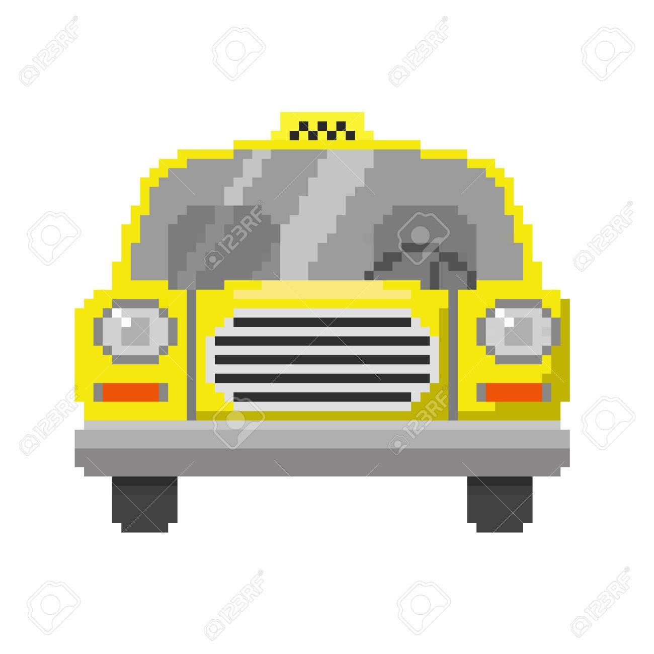 Pixel Art De Vue Avant De La Voiture Jaune Taxi Vector Icône Illustration Isolé Sur Fond Blanc