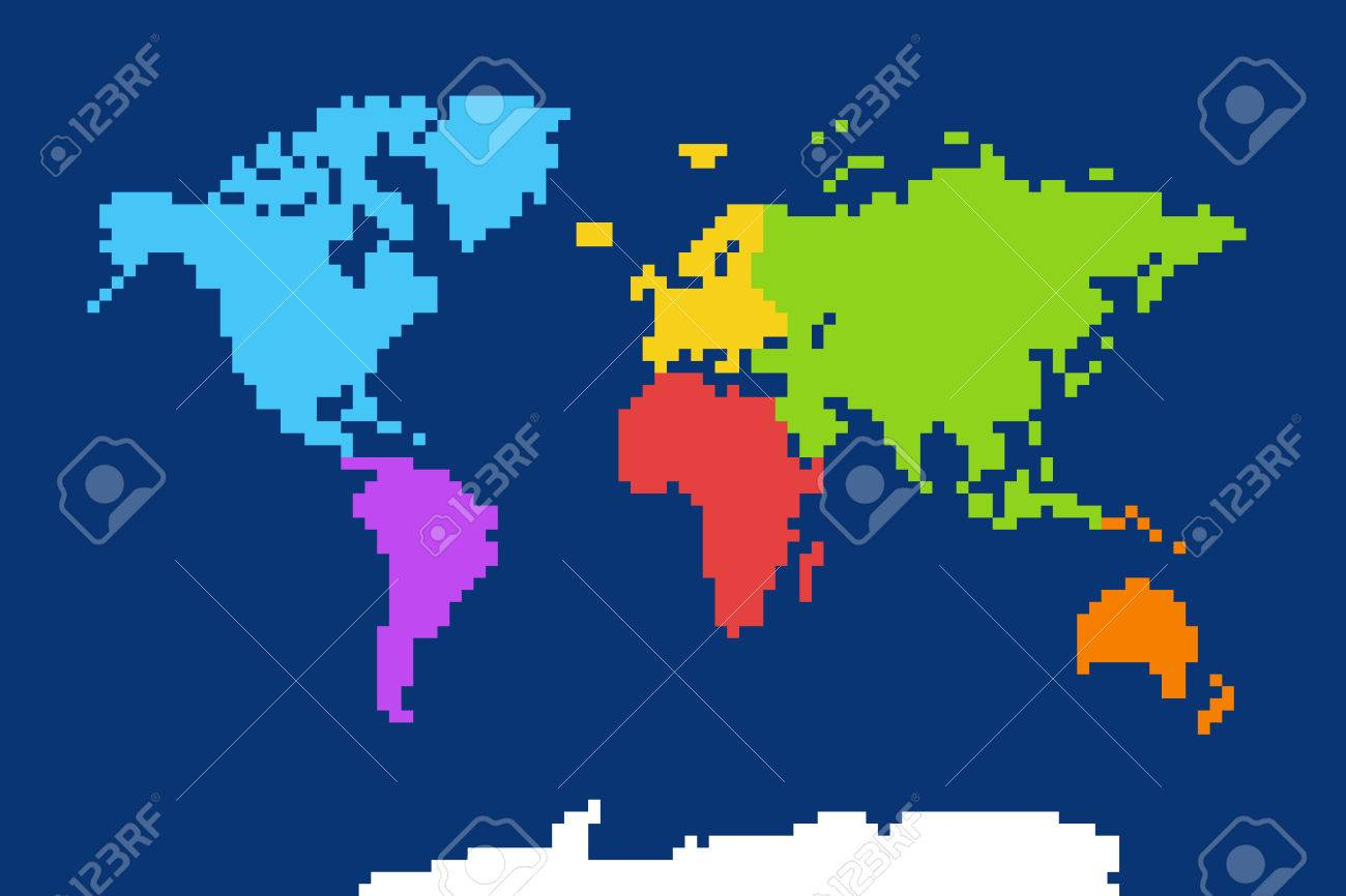 Colored world map pixel art illustration royalty free cliparts colored world map pixel art illustration stock vector 63109374 gumiabroncs Choice Image