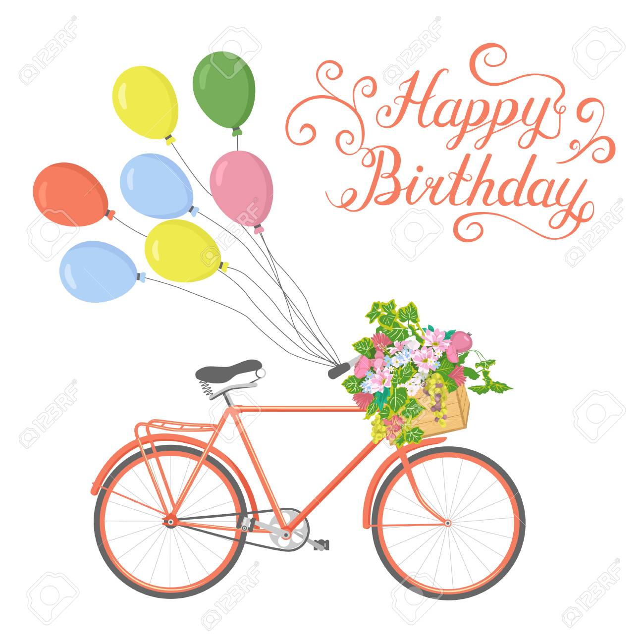 Hand Drawn Bicycle With Flowers And Balloons Greeting Card With