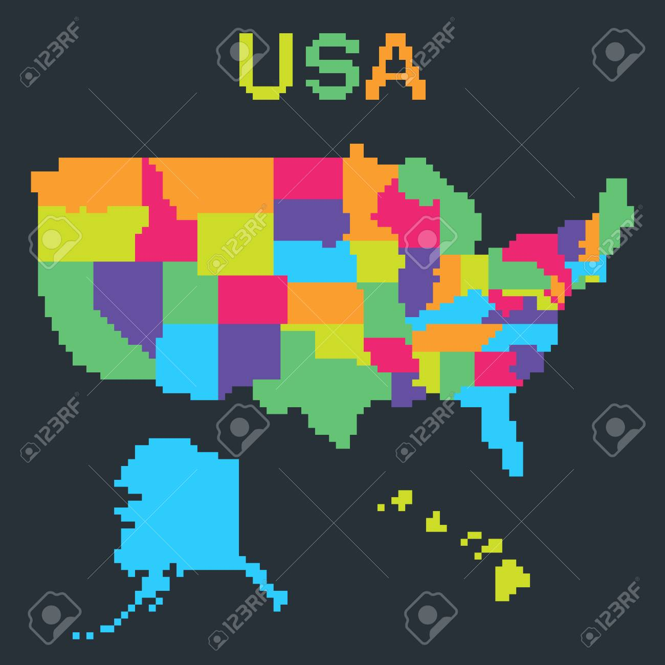 Map Of United States Of America In 8 Bit Pixel Art Style With
