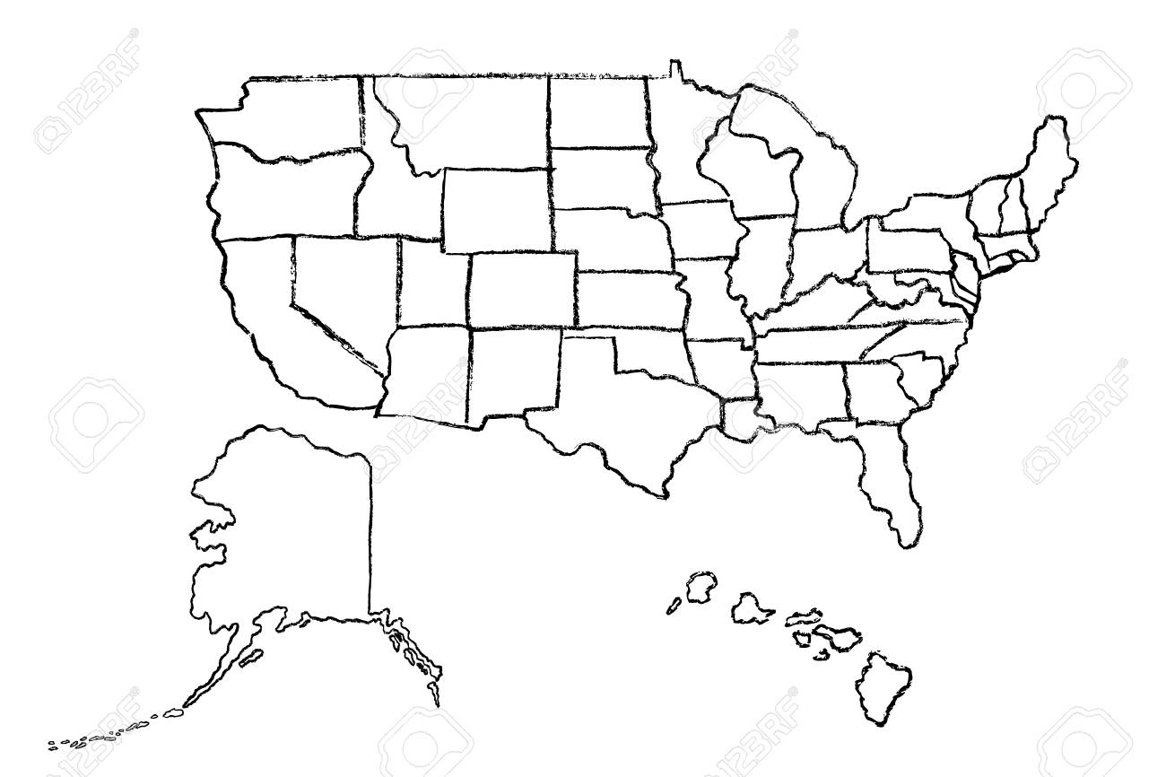 Hand Drawn Map Of United States Of America Usa With States