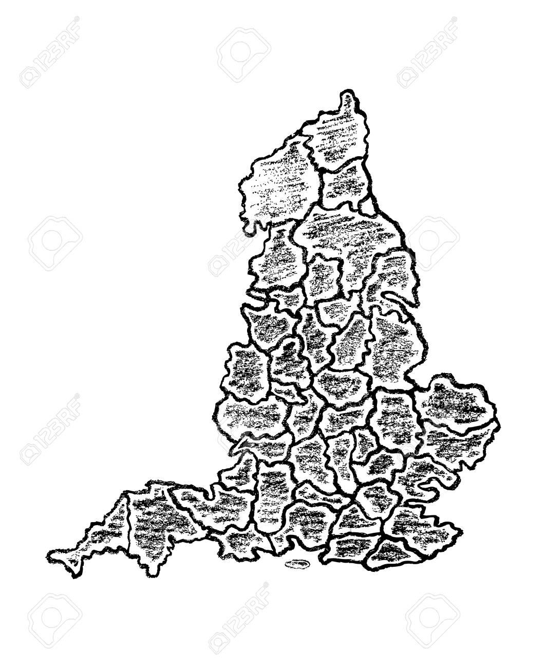 Map Of Uk Black And White.Stock Illustration