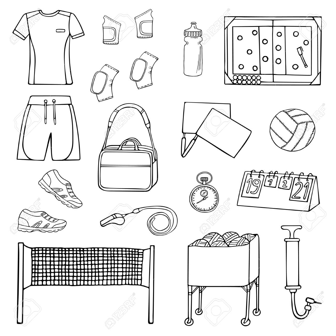 Set Of Doodle Volleyball Ball, Clothing, Net, Etc. Icons Set... Royalty Free Cliparts, Vectors, And Stock Illustration. Image 123687290.
