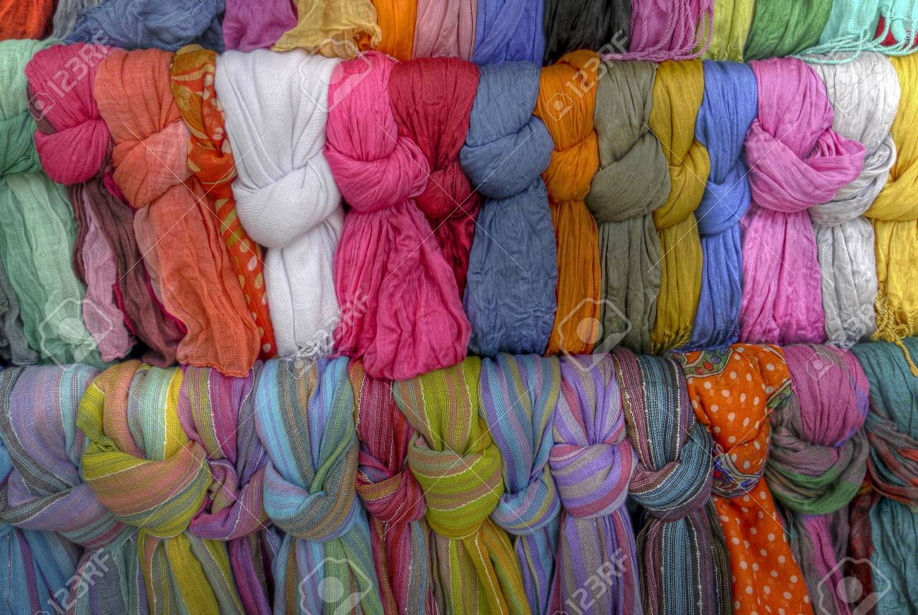 Many scarves on a stand waiting for buyers Stock Photo - 17078980