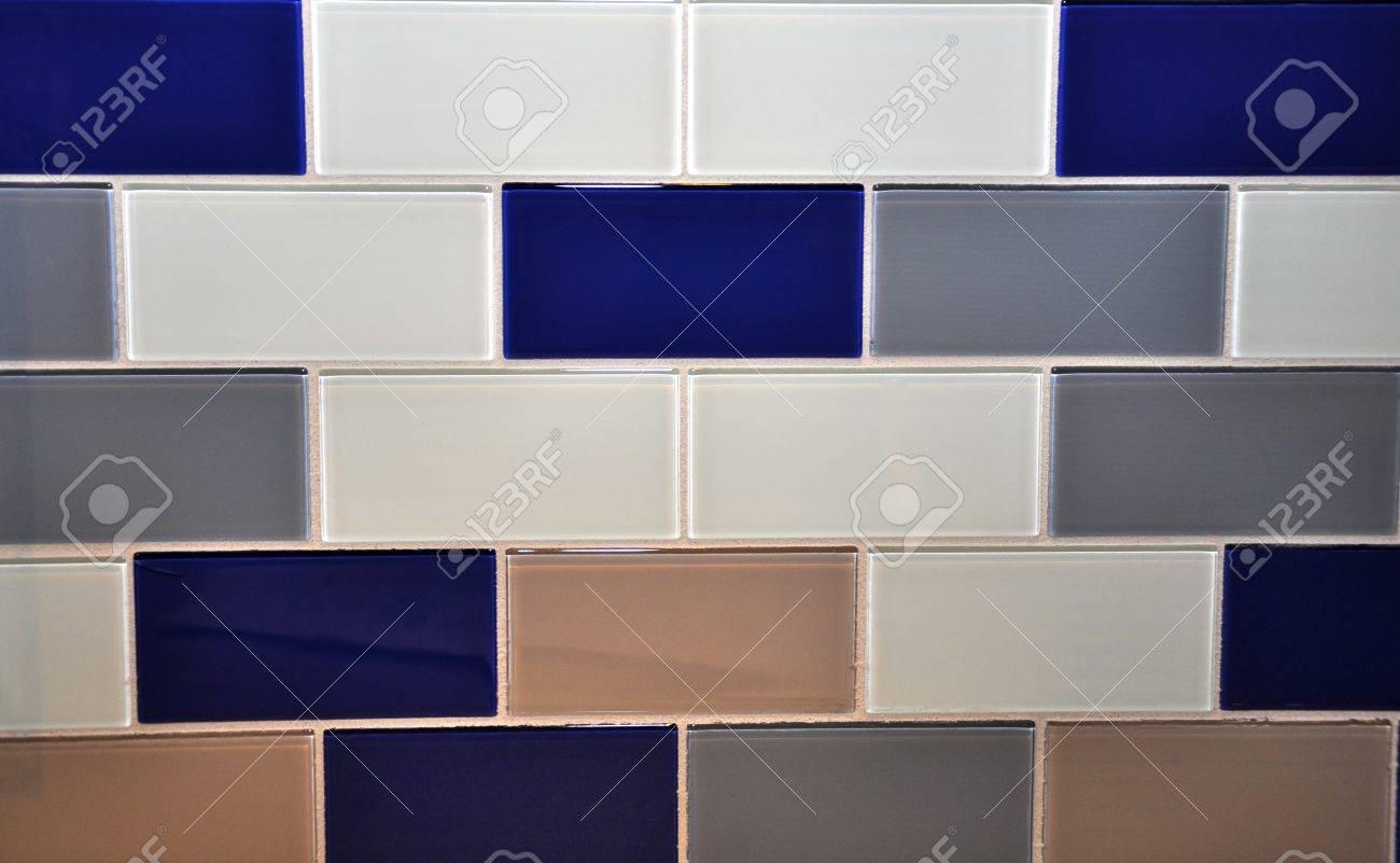 Salle de bains ou de cuisine Bleu, Gris, Gris foncé et beige