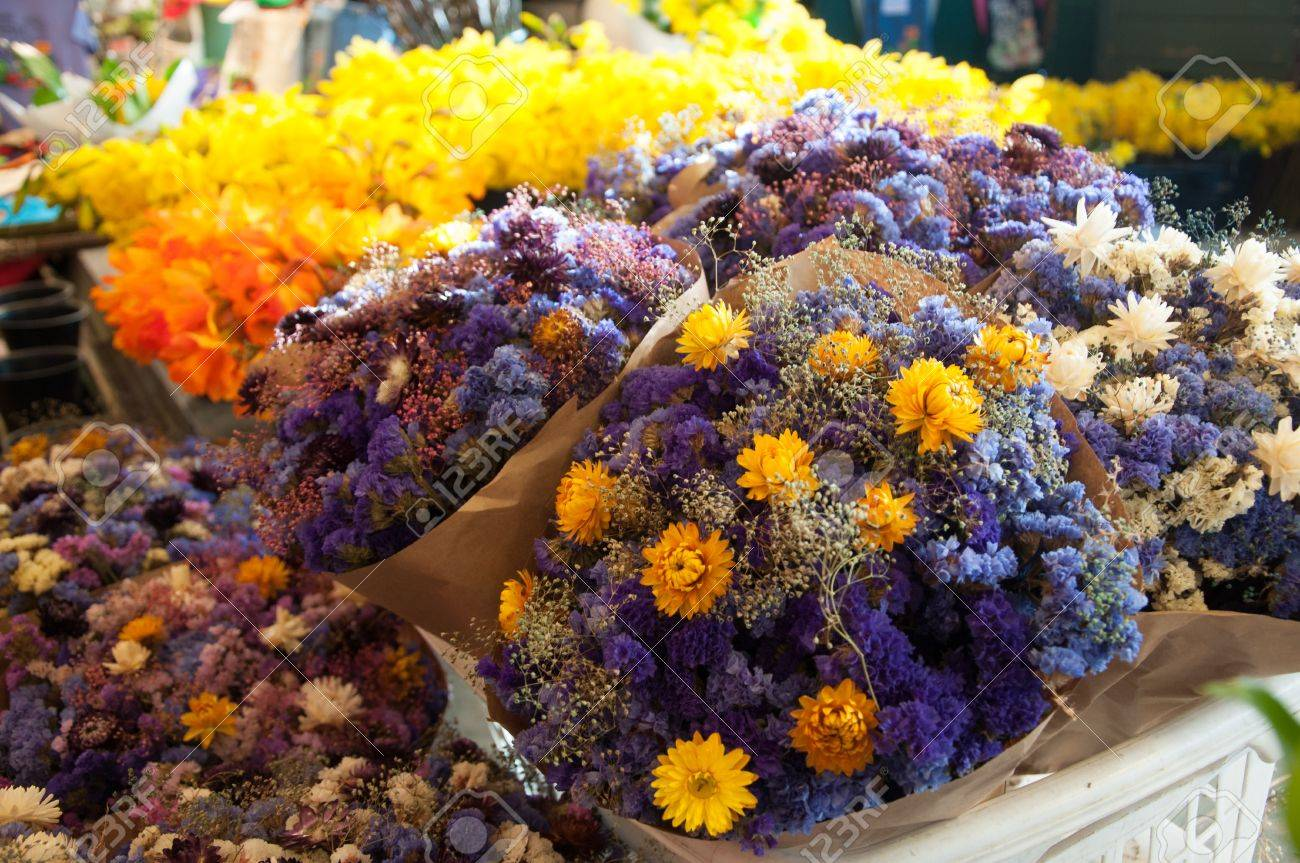 Outdoor Flowers For Sale Part - 28: Bright And Beautiful Cut Fresh And Dry Flowers With Colorful Hues For Sale  At A Traditional