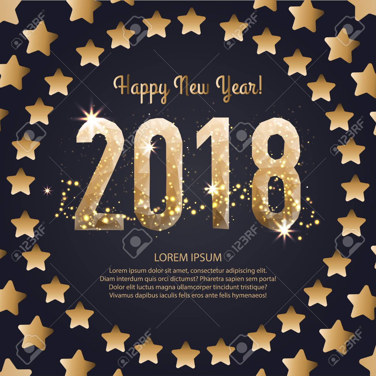 Vector Template For A Square Sign For A Happy New Year 2018 Is ...