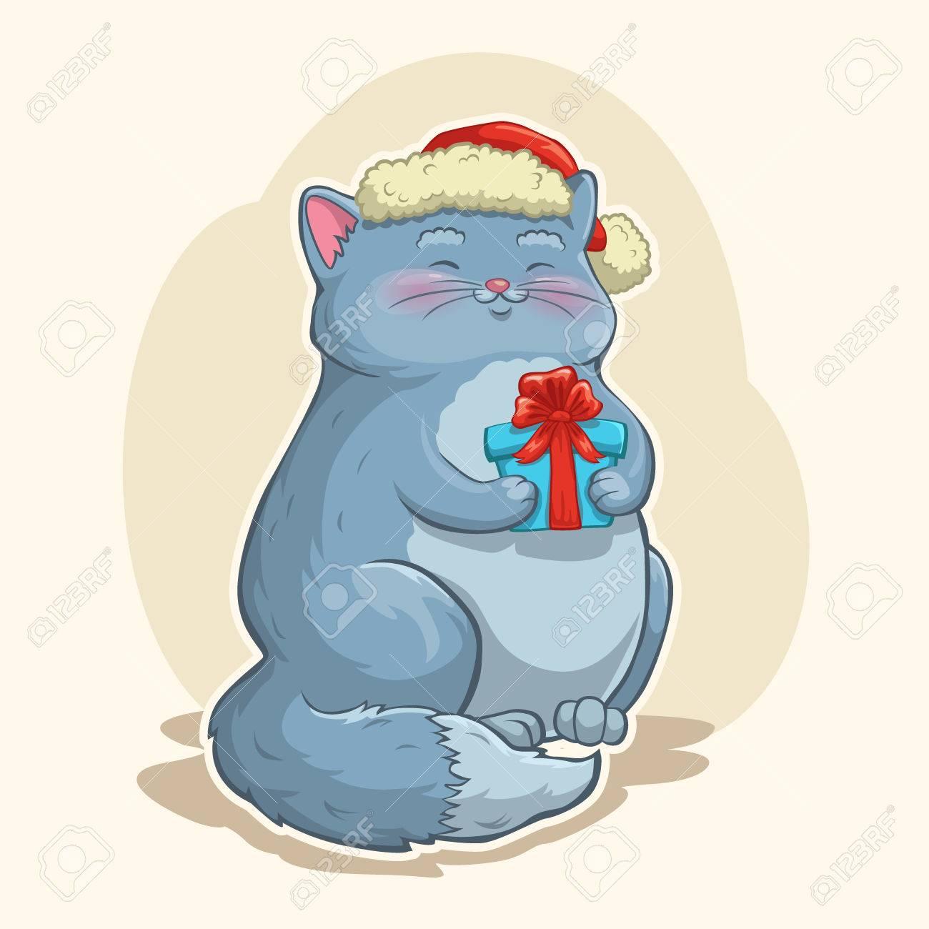Dibujos animados lindo gato gordo de Navidad con caja de regalo y sombrero de Santa Foto