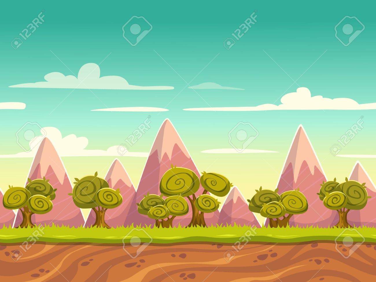 Seamless cartoon nature landscape, unending background with soil, trees, mountains and cloudy sky layers - 35949666