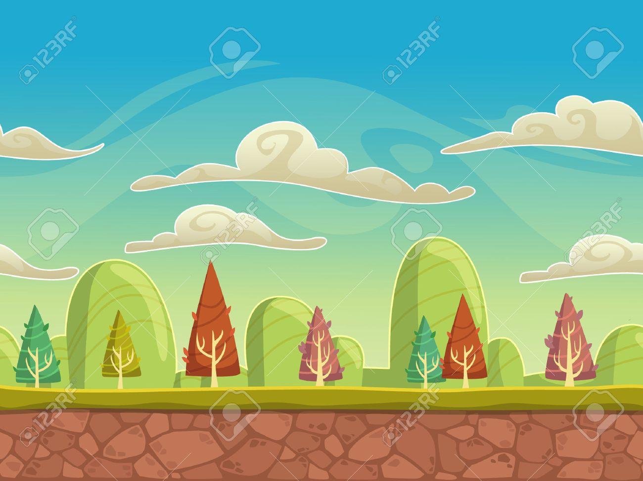 Seamless nature paysage de dessin animé, fond sans fin avec le sol, les  arbres, les montagnes et les couches de ciel nuageux