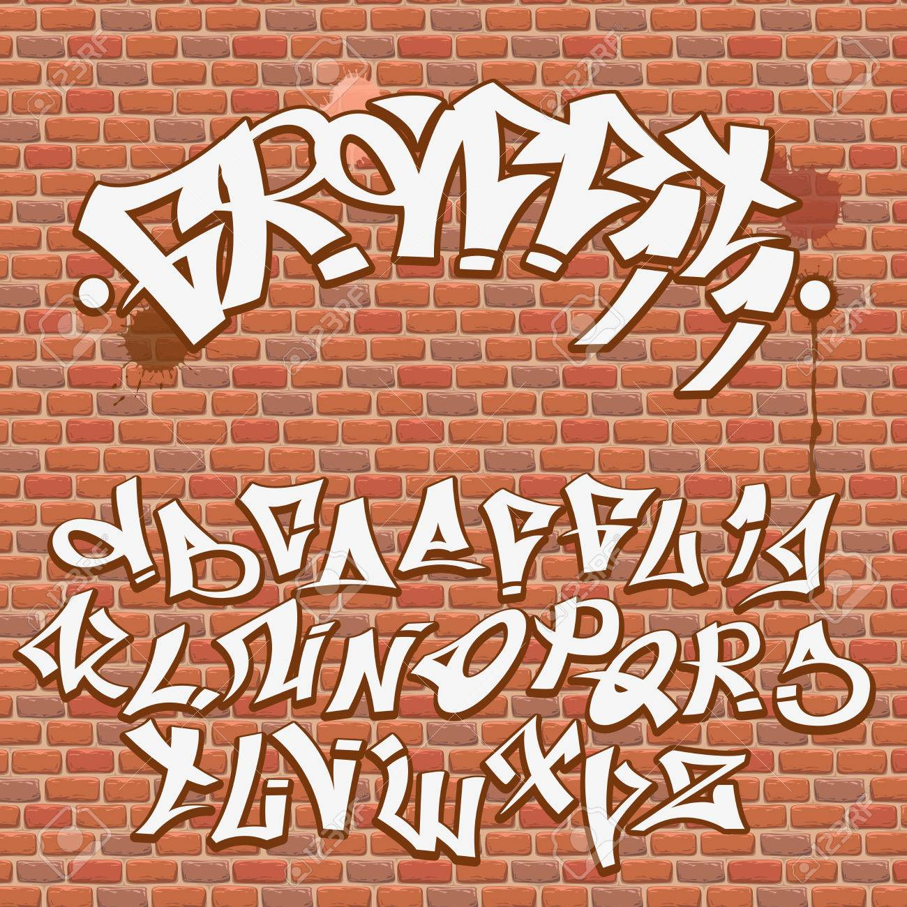 Graffiti Font Alphabet On The Brick Wall Stock Vector