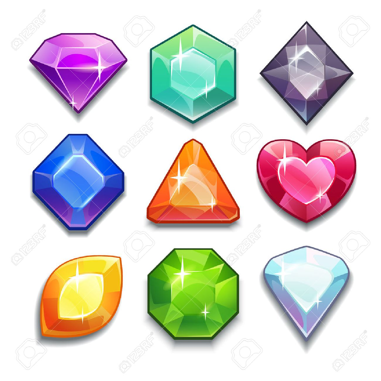 Cartoon vector gems and diamonds icons set in different colors with different shapes, isolated on the white background. - 38671613