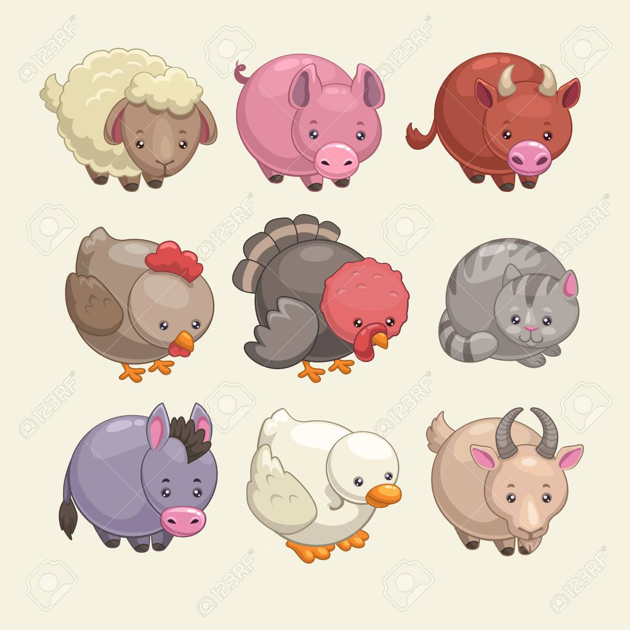 Image of: Cute Animals Cute Round Animals Stock Vector 41682225 123rfcom Cute Round Animals Royalty Free Cliparts Vectors And Stock