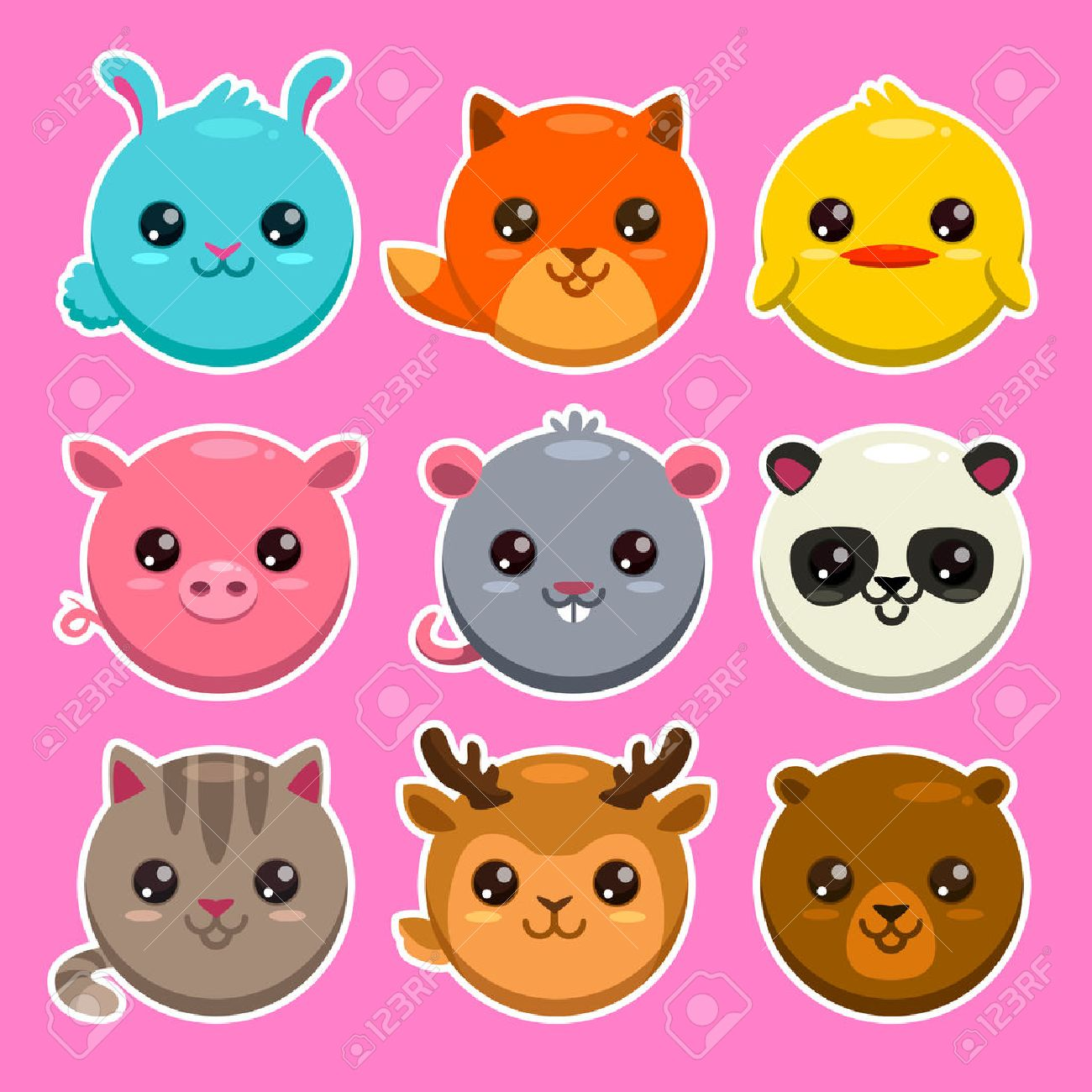 Cute Round Set Of Cute Cartoon Round Animals Vector Zoo Stickers Stock Vector 42515116 123rfcom Set Of Cute Cartoon Round Animals Vector Zoo Stickers Royalty Free