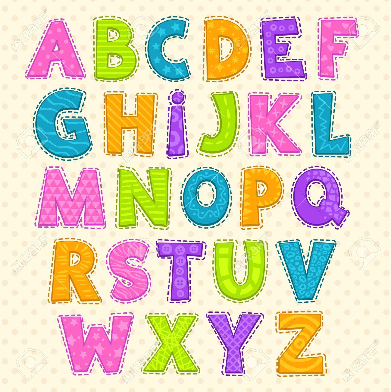 かわいい面白い幼稚なアルファベット。ベクトル フォント イラスト
