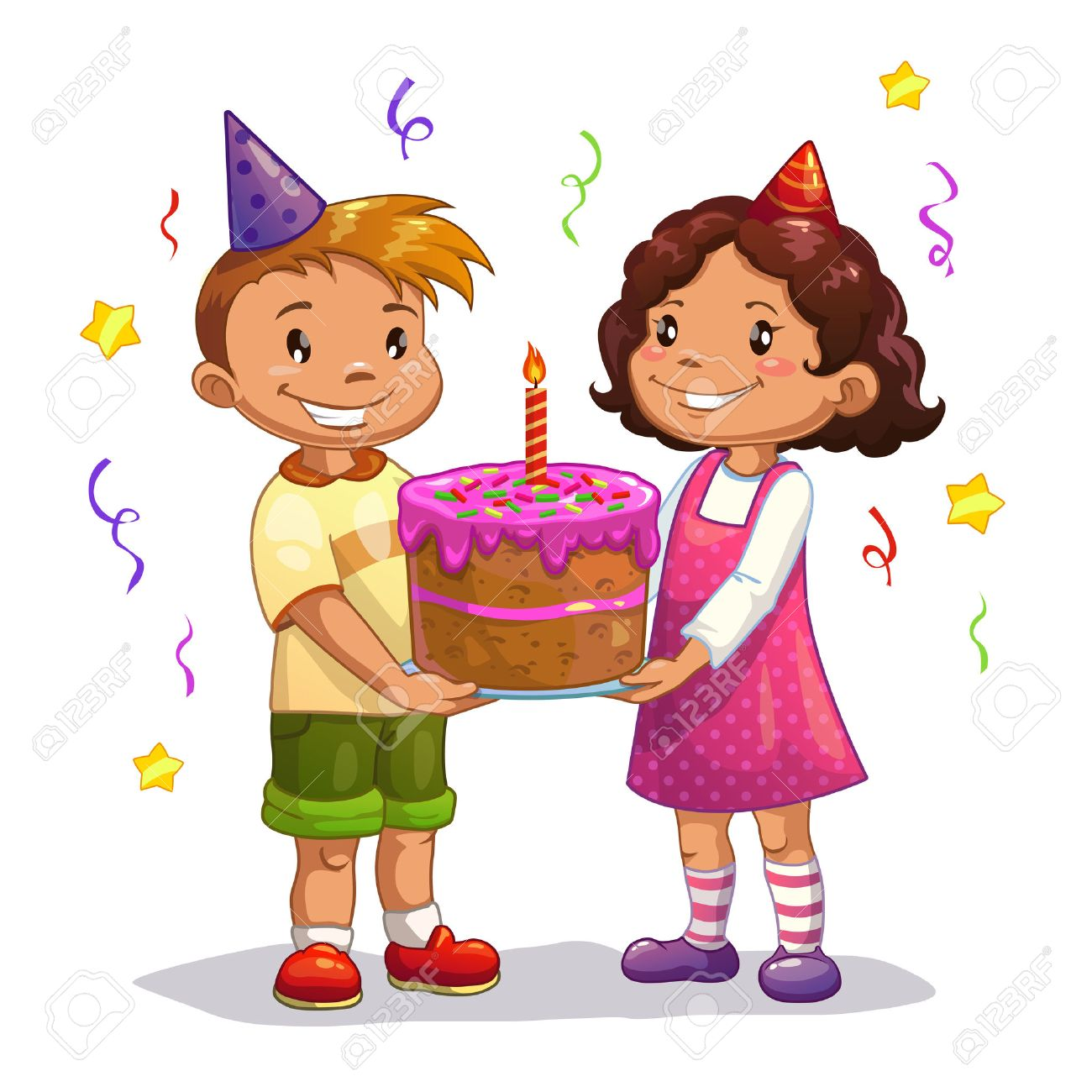 Little Cartoon Kids With Big Birthday Cake Isolated Vector Royalty