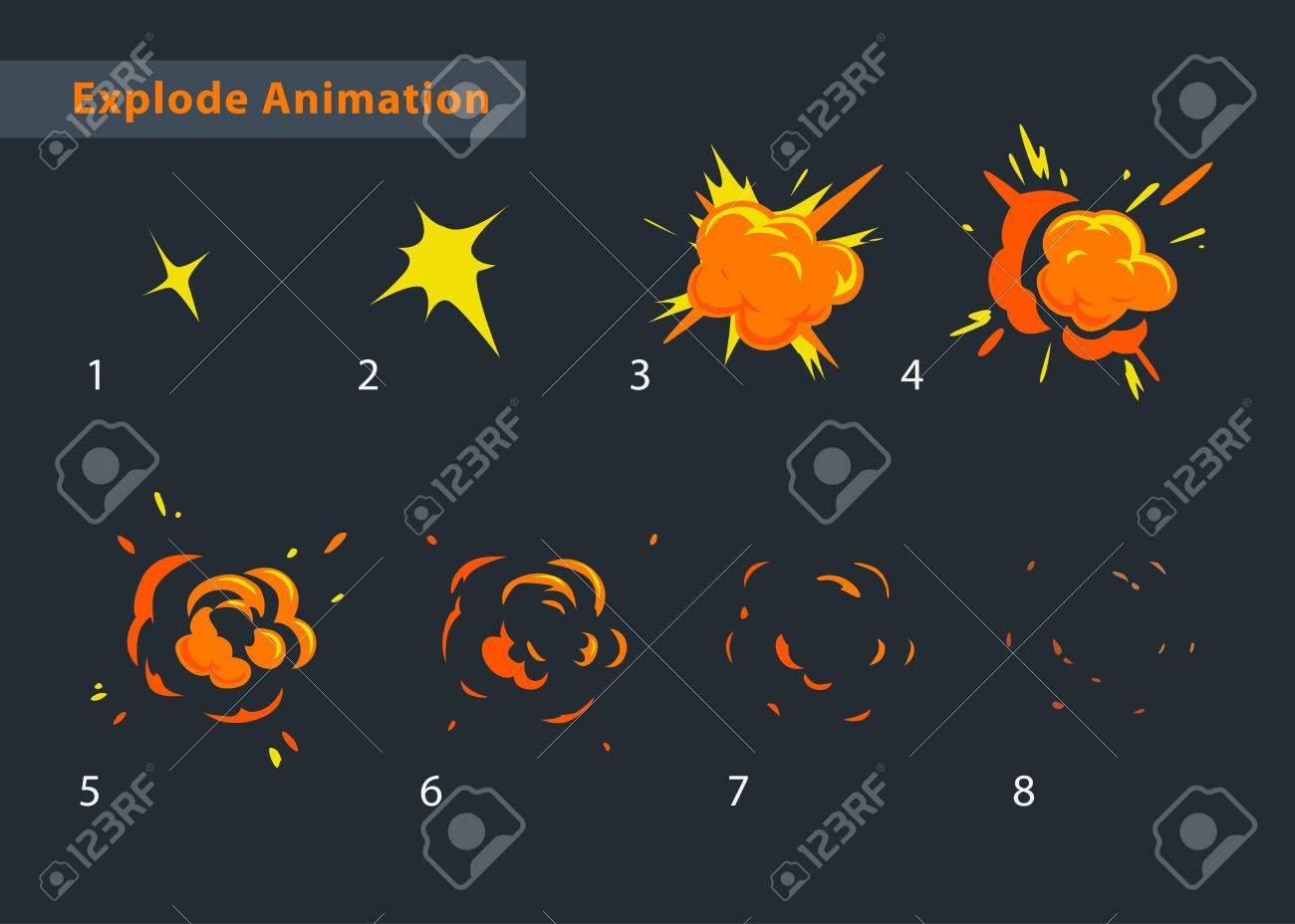 Explode Animationseffekt. Cartoon Kühlen Explosion Rahmen Lizenzfrei ...