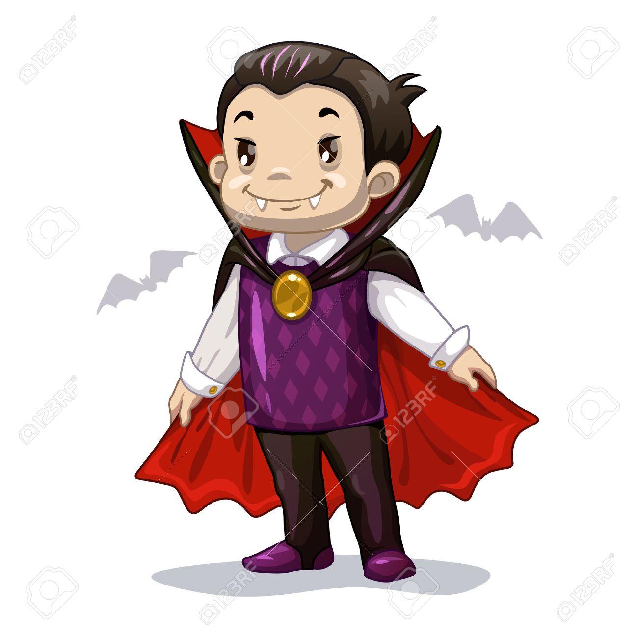 面白い漫画少しヴァンパイアハロウィーンの衣装を身に着けている男の子
