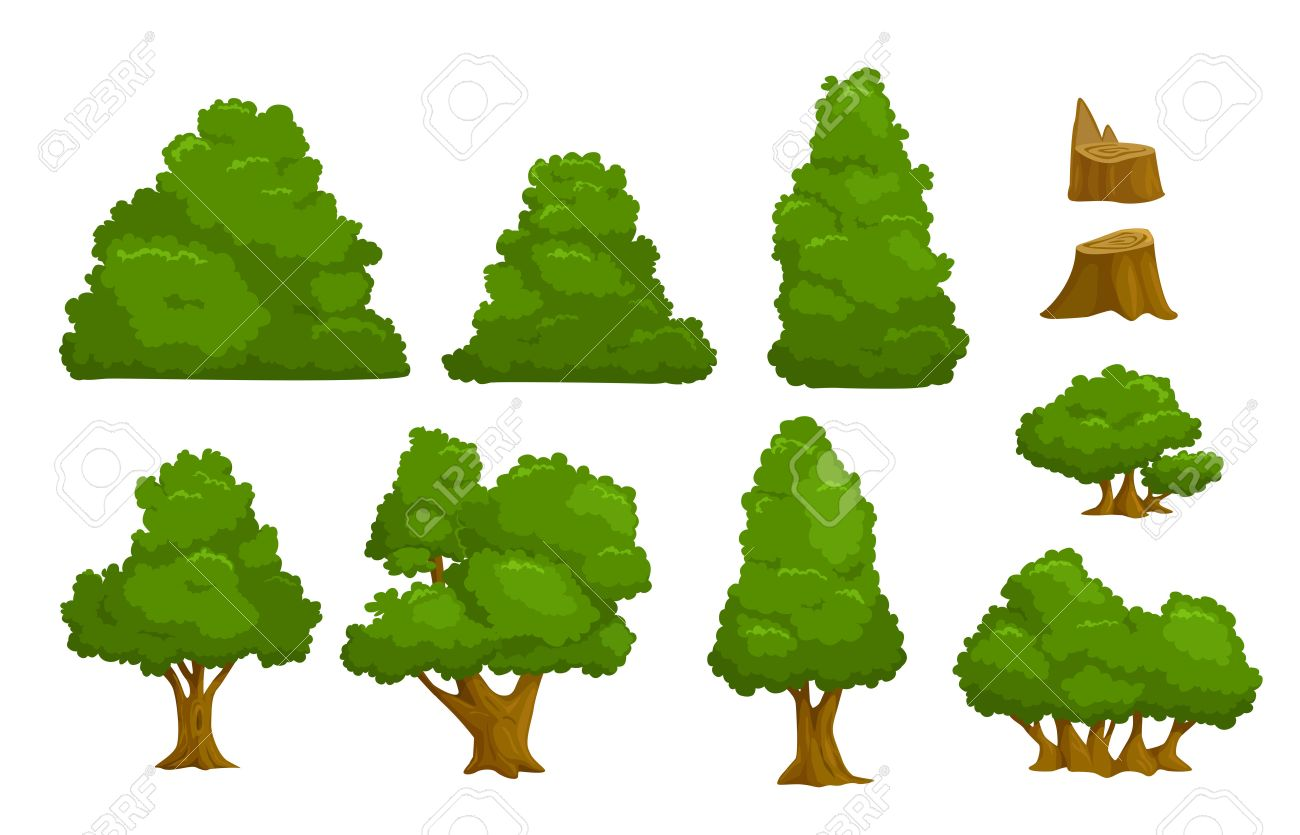 Vector nature elements set, isolated cartoon trees and bushes - 44524795