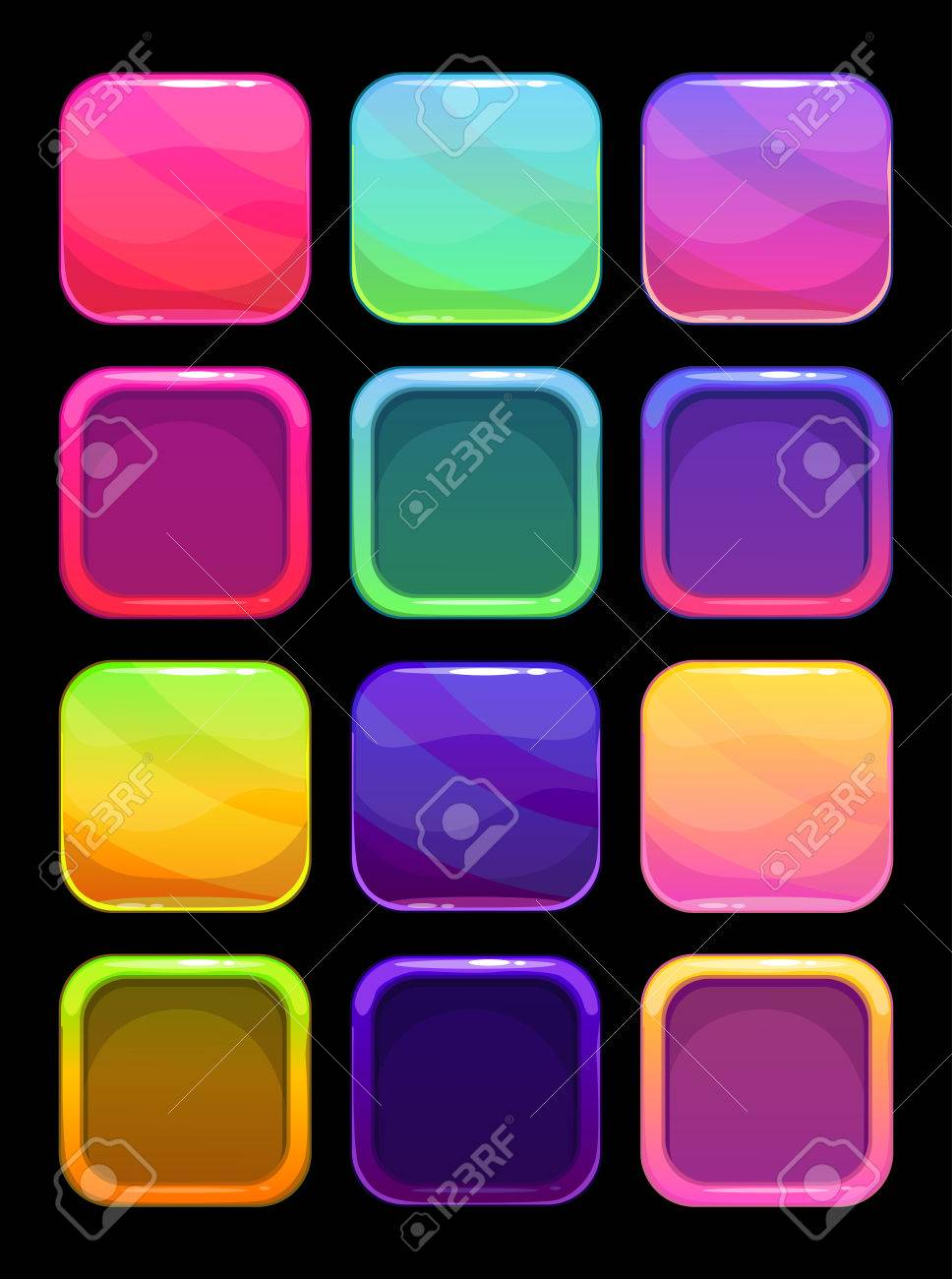 Elementos Ui Divertidos Brillantes Colores, Botones De Vector ...