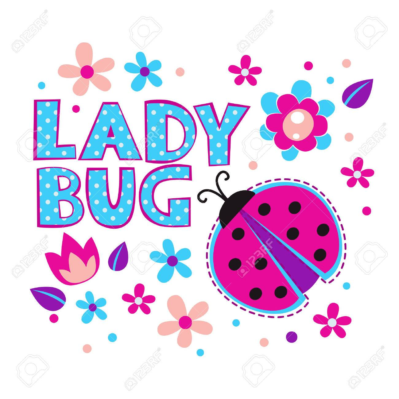 Free t-shirt design - Tshirt Cute Girlish Illustration With Ladybug And Flowers Vector Template For T Shirts