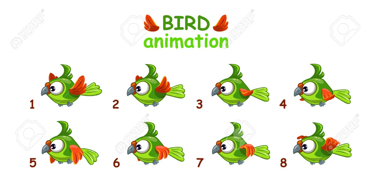 Funny Cartoon Flying Green Parrot, Bird Animation Frames Royalty ...