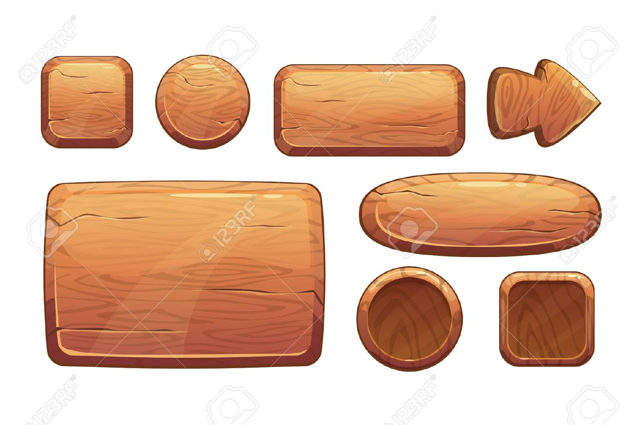 Cartoon wooden game assets, wood kit for game ui development, vector gui elements - 47552236