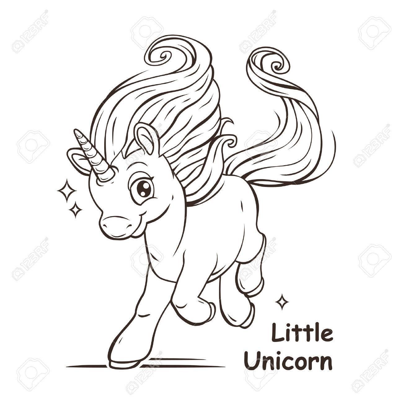 Mignon Petit Imaginaire De Dessin Anime Licorne Vecteur Contour