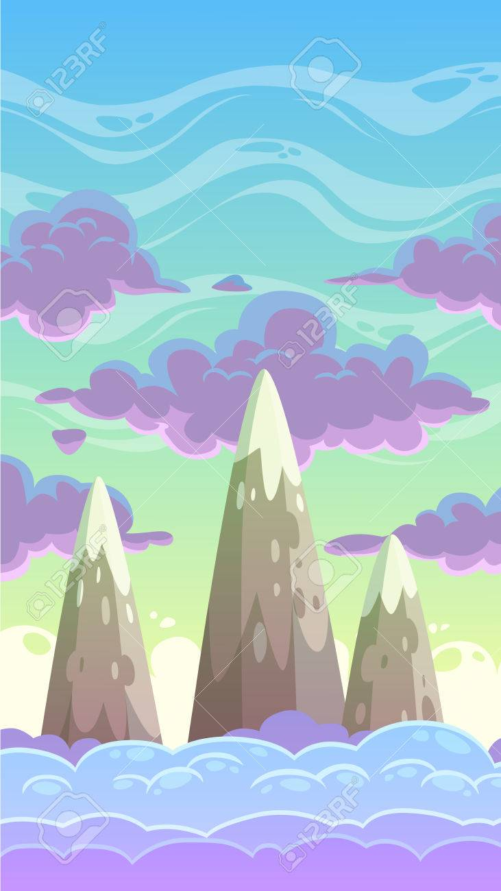 cartoon vertical cloudscape nature vector game background royalty