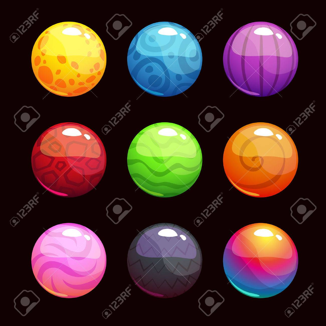 Funny Cartoon Colorful Shiny Bubbles Vector Elements For Game Design Stock Vector 48171379