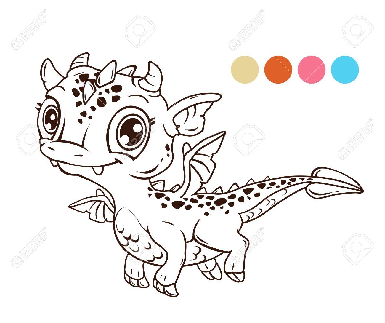 Mignon vol de bande dessinée bébé dragon contour illustration de livre de coloriage Banque d