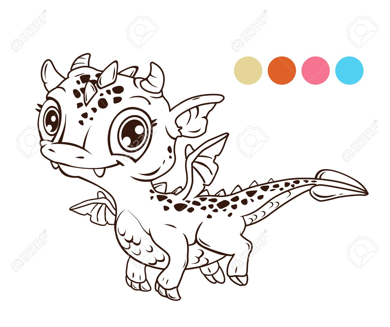 Cute Cartoon Fliegenden Baby Drachen Kontur Illustration Fur