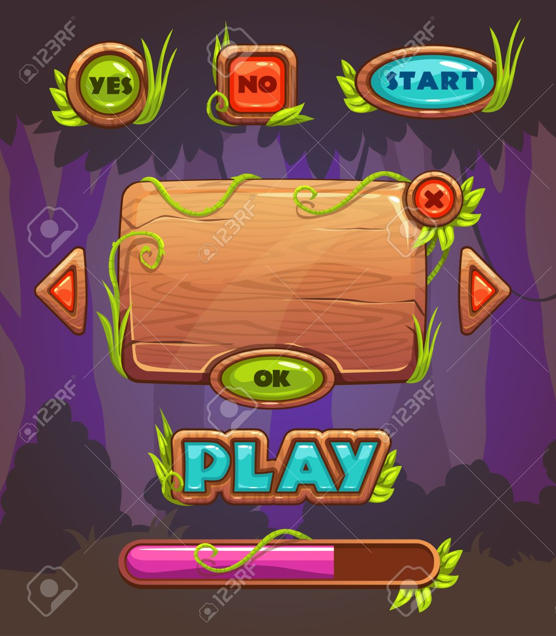 Cartoon wooden game user interface, vector assets for mobile