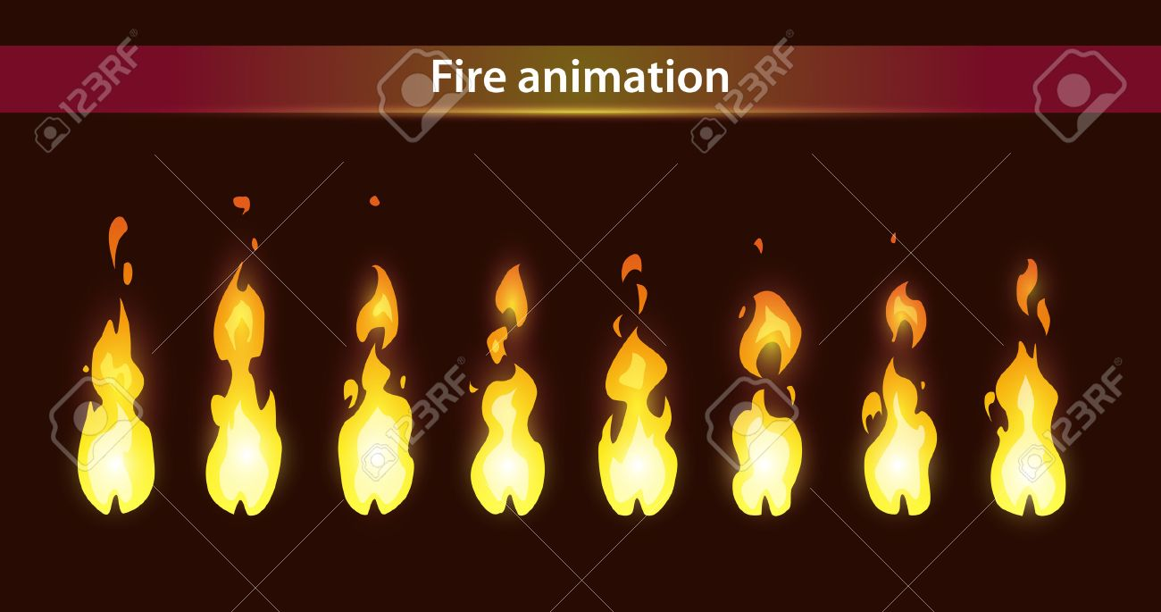 Fire animation sprites, vector flame video frames for game design - 53557069