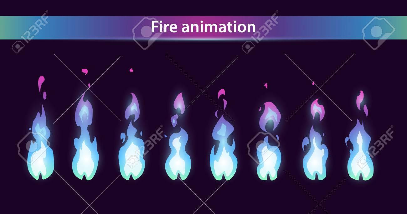 Blaue Feuer-Animation Von Sprites, Vektor Flamme Video-Frames Für ...