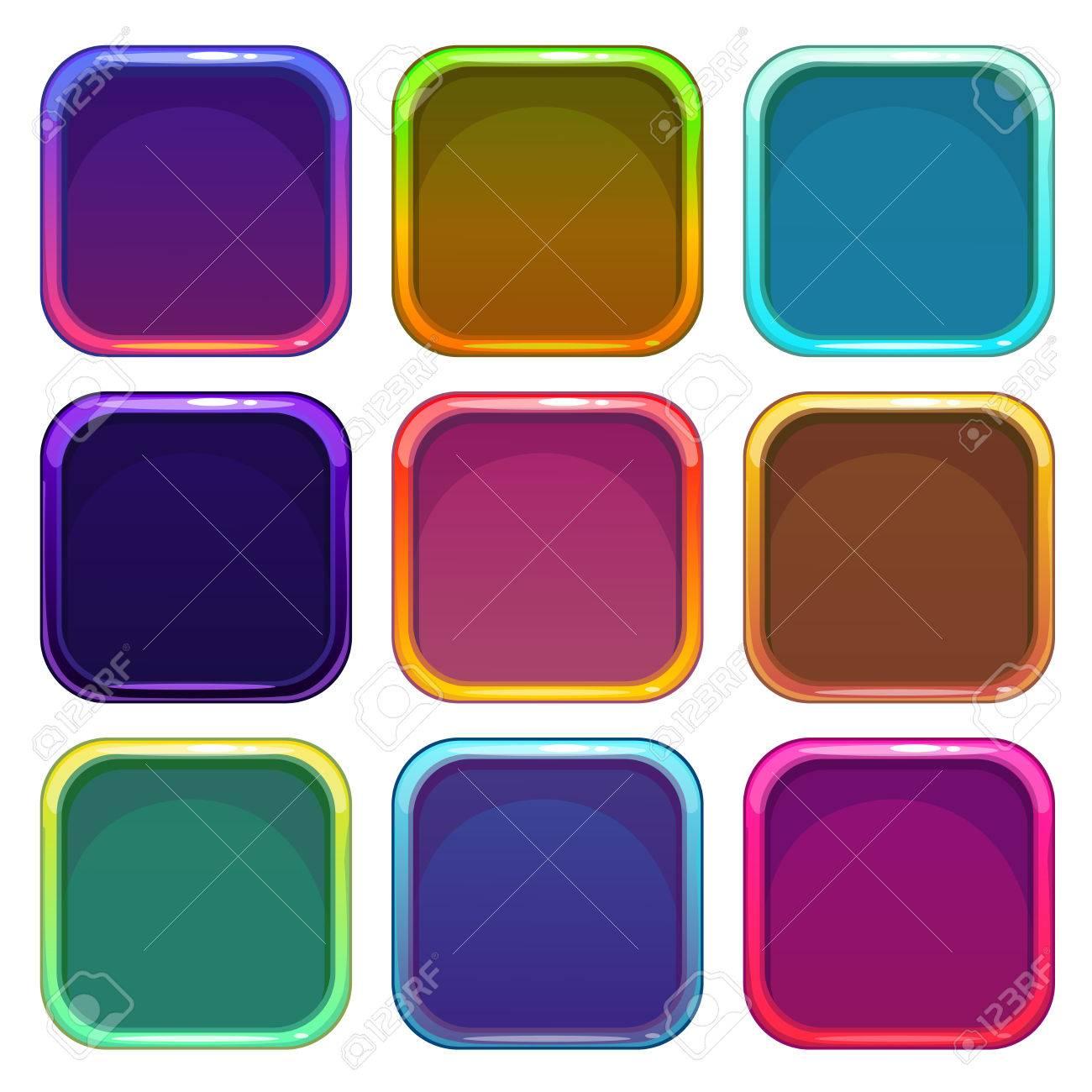 Gerundete Quadrat-App-Icon-Rahmen, Bunte Vektor-Vorlagen, Isoliert ...