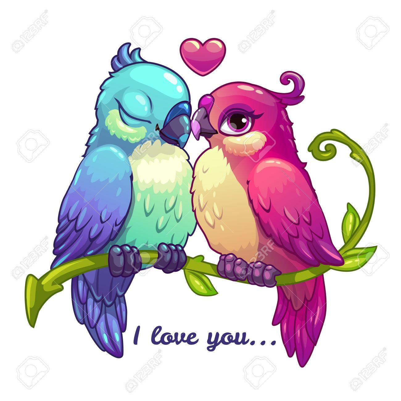 Pares De Los Pájaros Lindos En Amor Ilustración Vectorial De