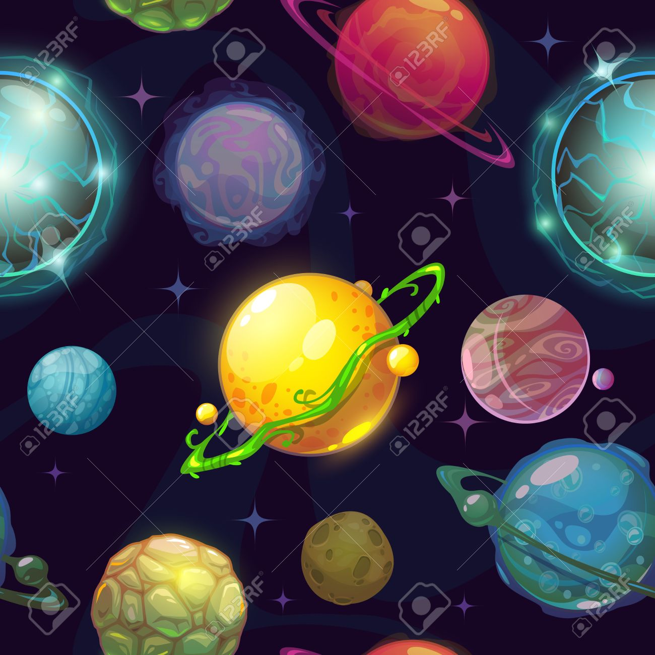 Seamless space pattern with cartoon planets, childish vector space illustration, fantasy planets on space