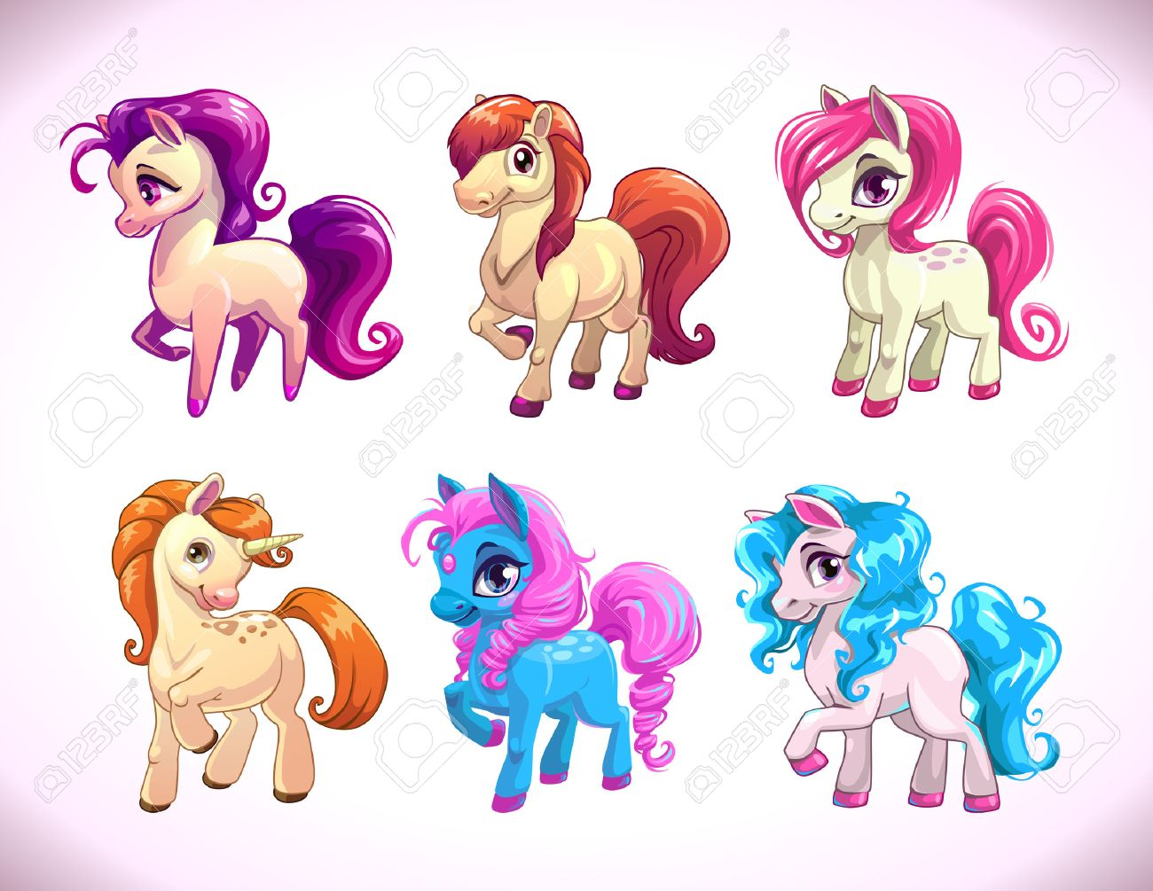 Funny cartoon farm pony characters, girlish beautiful baby horses icons set, illustration isolated on white, cute prints for kids t shirt design - 56096790