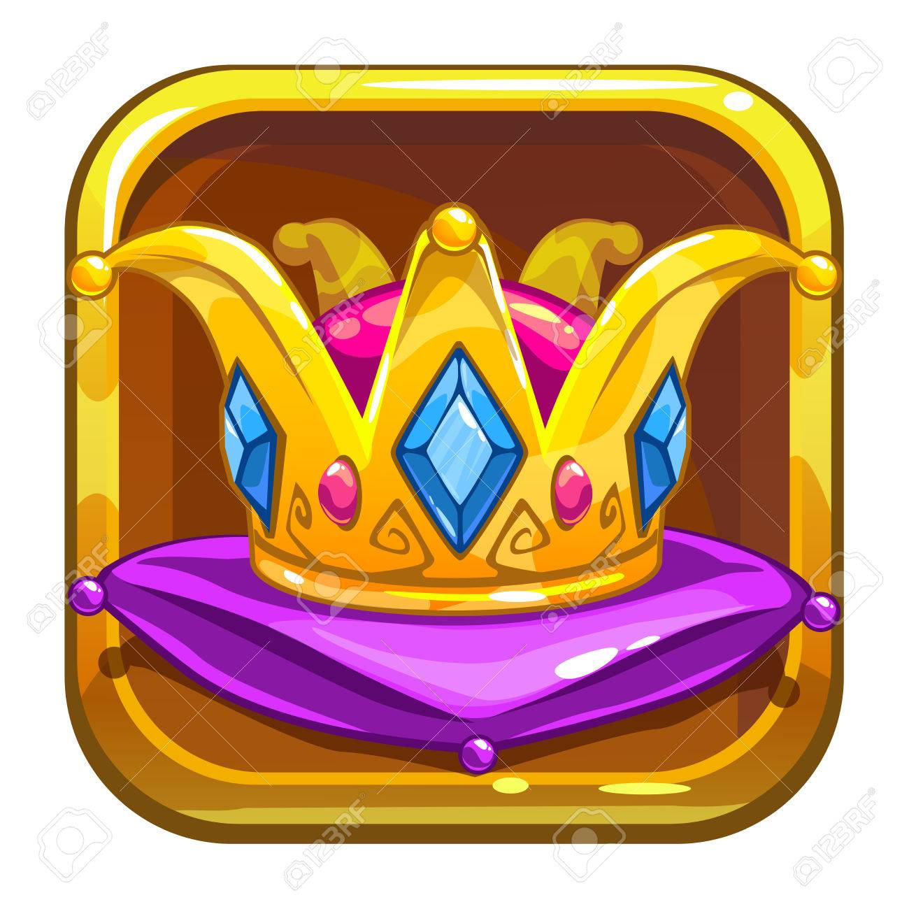 App Store Icon With Golden Crown On The Green Pillow Cartoon Royalty Free Cliparts Vectors And Stock Illustration Image 59276669 Golden yellow emperor prince queen crowns diamond coronation tiara crowning emojis corona isolated. 123rf com