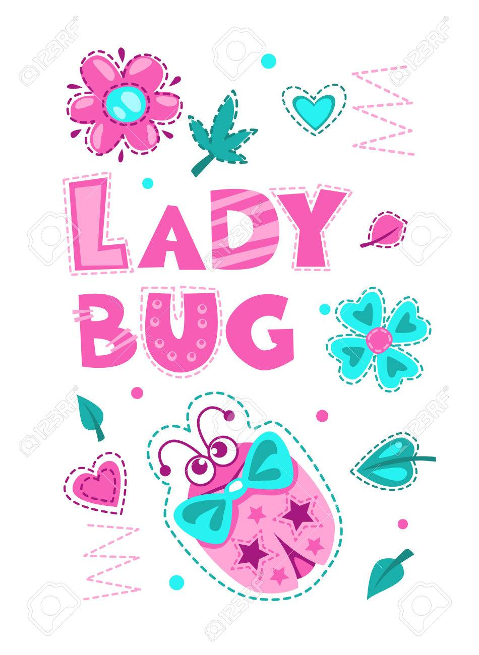 cute vector girlish illustration with funny ladybug pretty vector