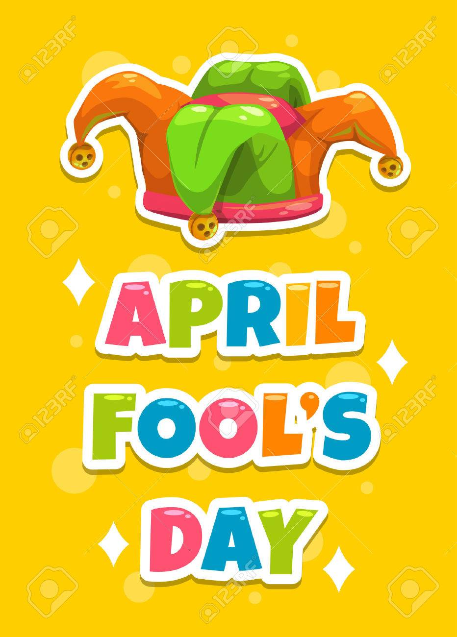 April Fool S Day Greeting Card Template Funny Cartoon Illustration