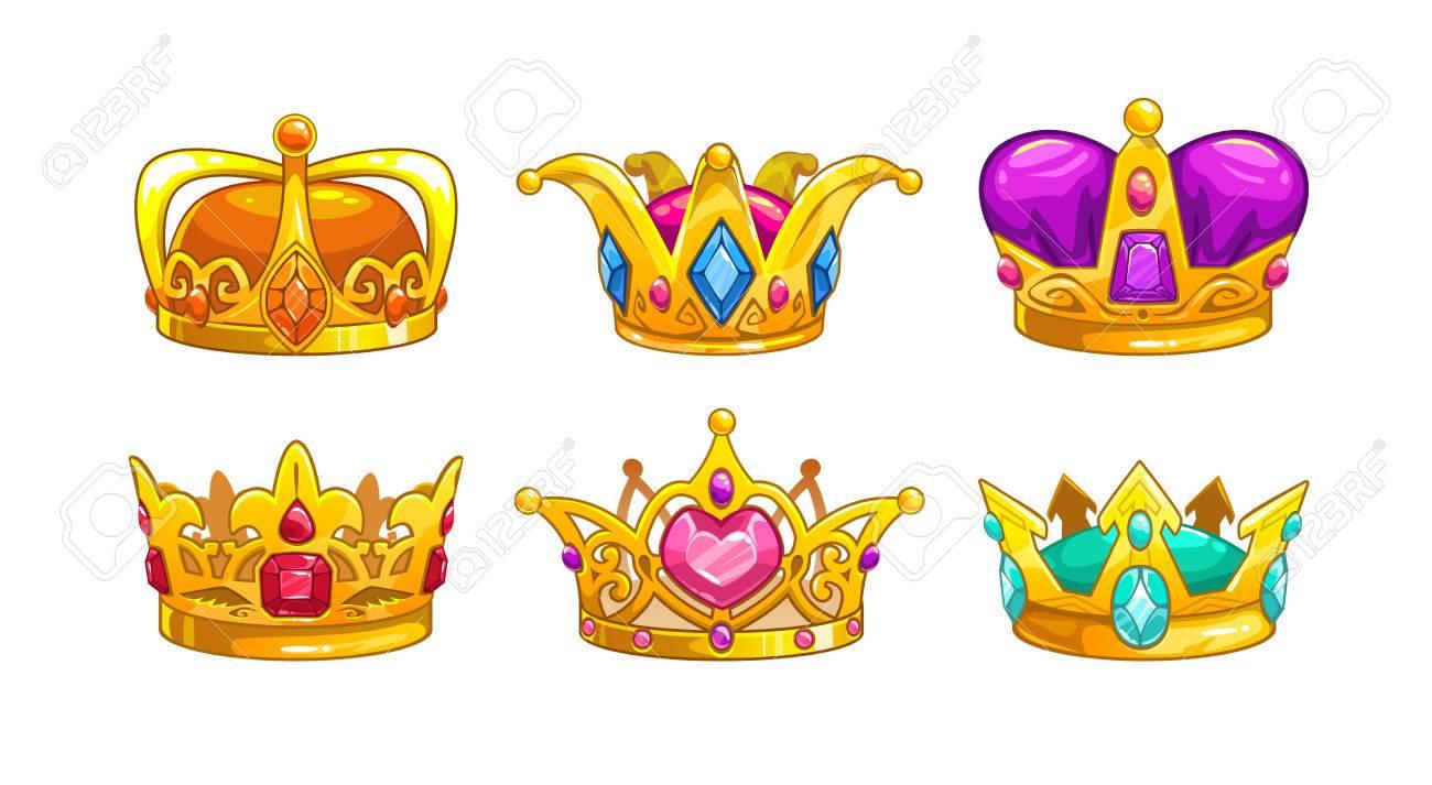 Conjunto De Icones De Coroa Real Dos Desenhos Animados Vector Rei