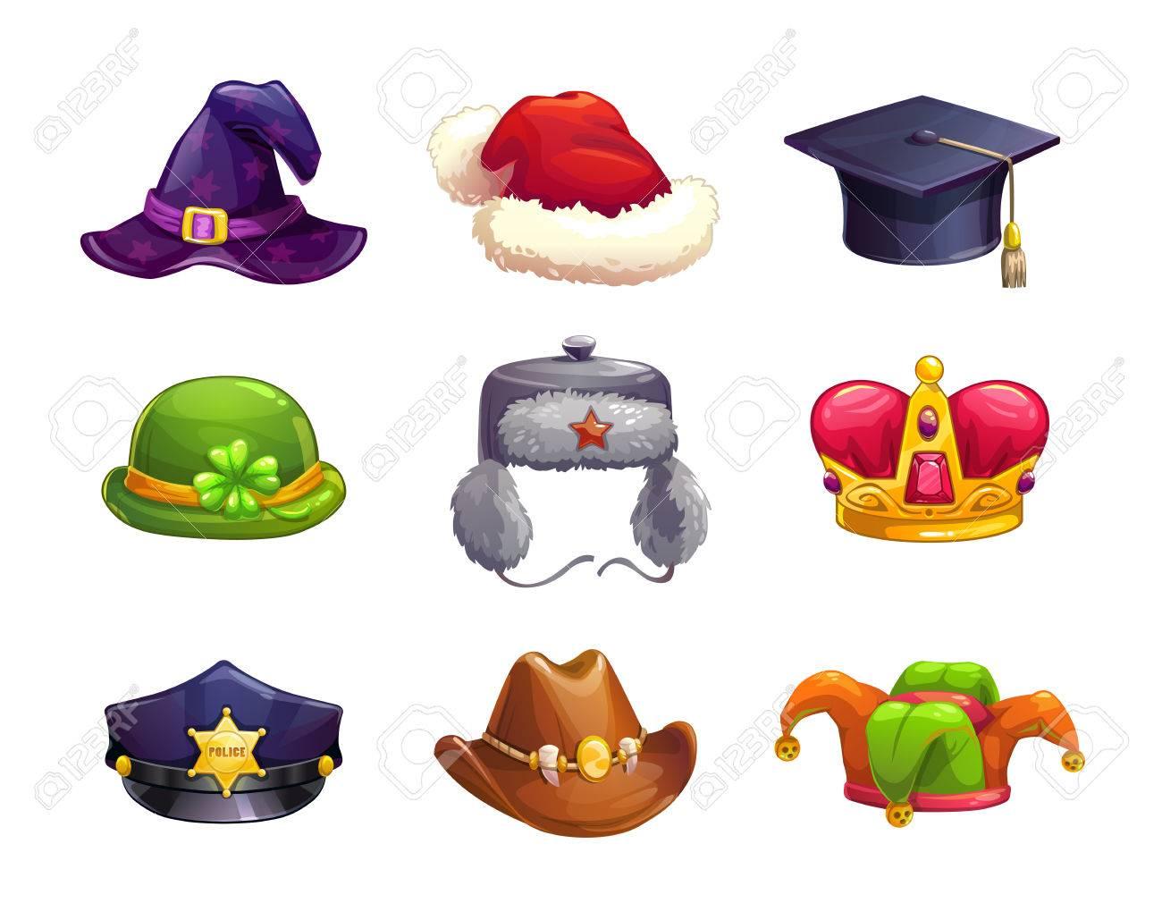 Conjunto de dibujos animados iconos diferentes sombrero. Vector de tapas de  la colección 3ab458b0946
