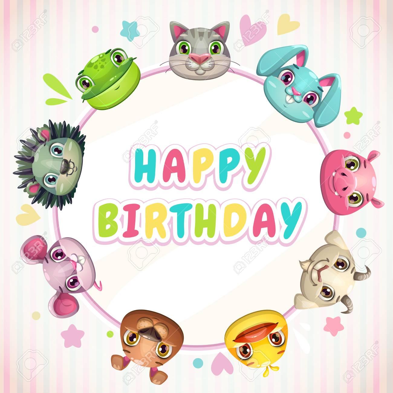 Plantilla De Tarjeta De Cumpleaños Infantil Lindo Con Caras De Animales Divertidos Dibujos Animados Banner De Invitación De Fiesta De Bebé